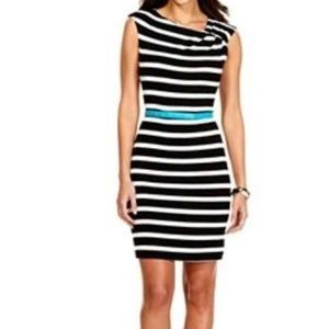 Calvin Klein B & W Striped Casual Belted Dress